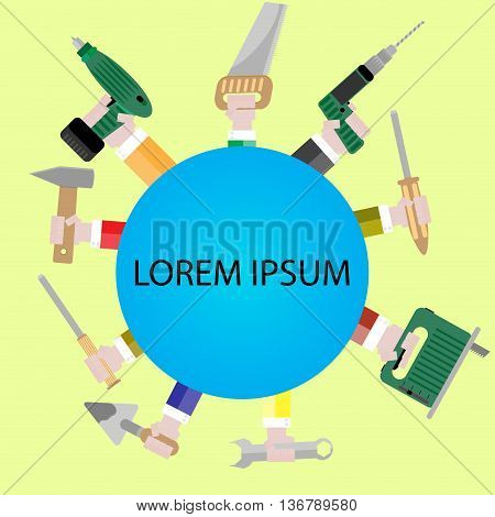 Template banner with tools for repair. Repair icon with hand tool drill and jigsaw trowel and hammer saw and screwdriver. Vector illustration