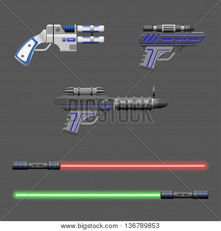 Guns set. Video game weapons. Virtual reality device collection. Light swords. Vector illustration poster