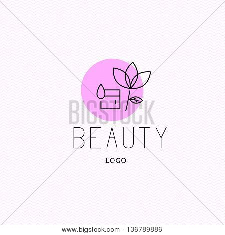 Vector cosmetic logo design template. Beauty brand mark, health care, medicine company insignia isolated. Skin care. Woman health, linear flat simple beauty signs. Natural eco product label.