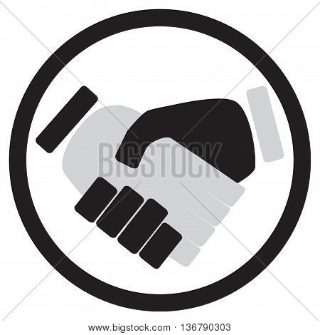 Handshake icon monochrome. Hand and handshake icon shaking hands and business handshake business partnership meeting. Vector illustration