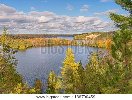 Autumn colors on the Highbanks Trail, on the AuSable Scenic Byway, in the Huron National Forest, near Oscoda, Michigan.