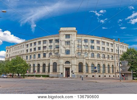 RIGA LATVIA - JUNE 29 2016: Minor building (circa 19th c.) of University of Latvia on the Aspazijas (former Theater) Boulevard in Riga. Hosts Faculty of Economics and Management
