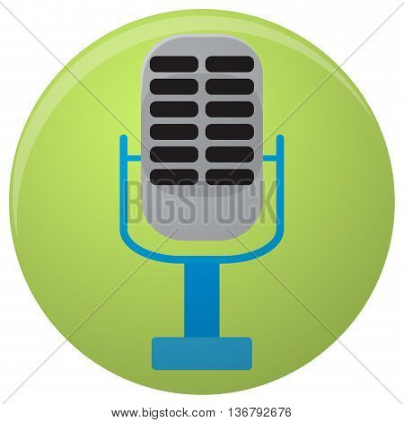 Icon colored microphone. Music icon and microphone isolated speaker and mic icon. Vector illustration