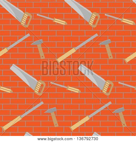 Carpentry tools pattern design. Construction equipment for work instrument and carpentry service. Vector illustration