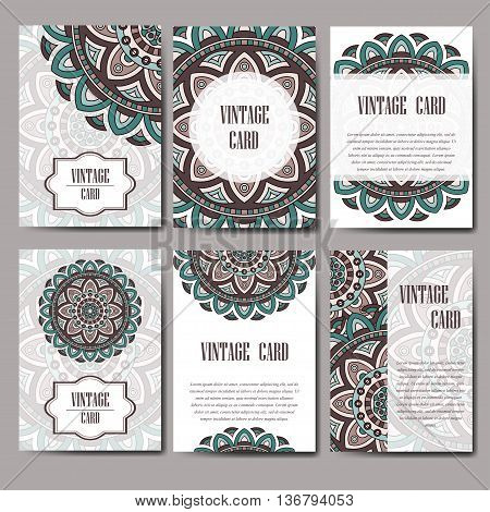 Invitation graphic card with mandala. Decorative ornament for card design: wedding bithday party greeting. Vintage mandala element. Vector illustration