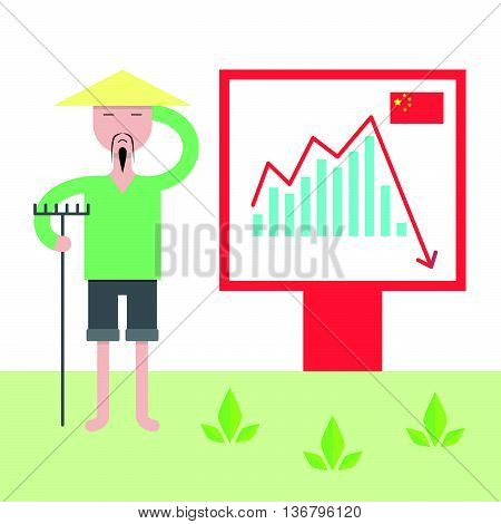 Illustration Of Chinese Economy Crysis.