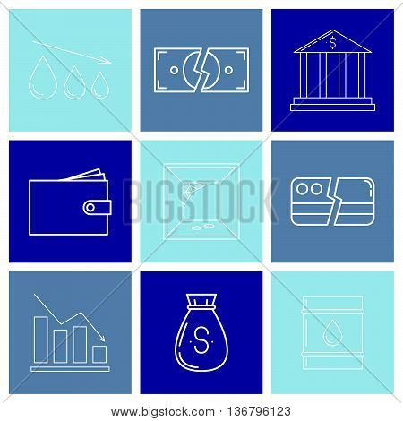 Set Of Economy Crysis Icons
