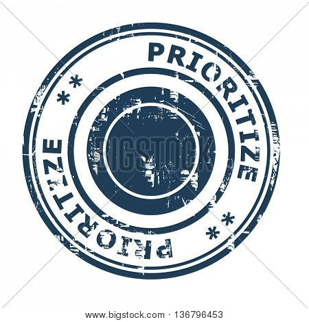 Prioritize business concept rubber stamp isolated on a white background.