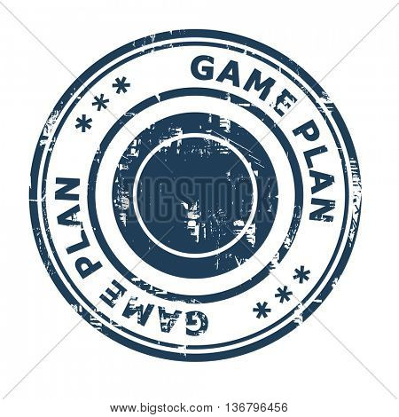Game Plan business concept rubber stamp isolated on a white background.