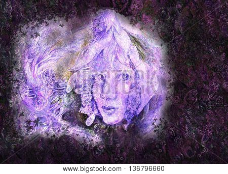 Fairy Portrait of fairy face coming from snow white flower on structured background.