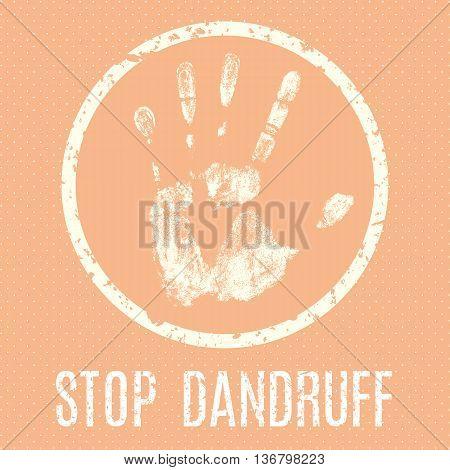 Conceptual vector illustration. Human diseases. Stop dandruff.