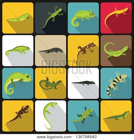 Lizard icons set in flat style vector illustration