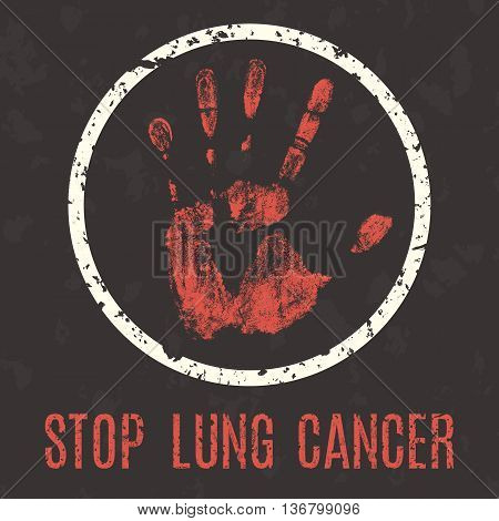 Conceptual vector illustration. Global problems of humanity. Stop lung cancer sign.