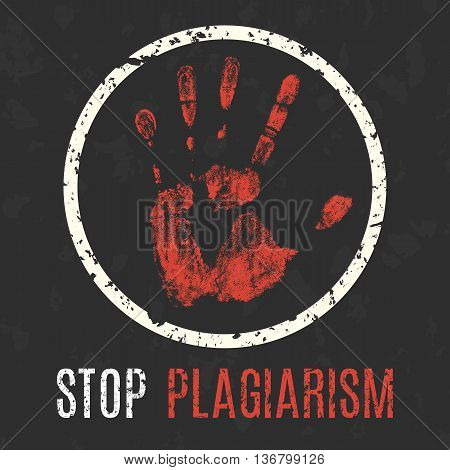 Conceptual vector illustration. Global problems of humanity. Stop plagiarism.