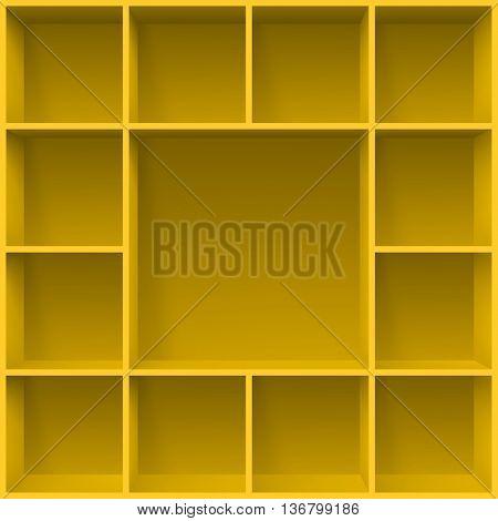 Yellow bookshelves. Illustration for creative design template