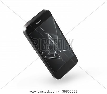 Broken mobile phone screen isolated 3D illustration. Smartphone monitor damage mock up. Cellphone crash and scratch. Telephone fail. Display glass hit. Device destroy problem. Smash gadget. Bad accident. Need repair.