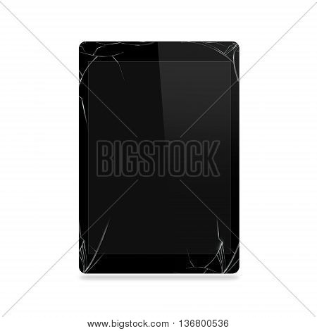 Broken tablet screen isolated 3D illustration. Computer monitor damage mock up. Portable device crash and scratch. Telephone fail. Display glass hit. Device destroy problem. Smash gadget. Bad accident. Need repair.