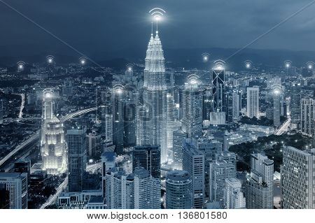 Technology Network and Connection concept - Wifi network connection in center business district use for wifi network connection background.