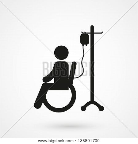 Patient Icon On White Background In Flat Style. Simple Vector