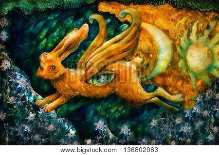 golden hare flying in enchanted realm with moon and sun, colorful painting.