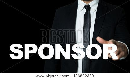 Business man pointing the text: Sponsor