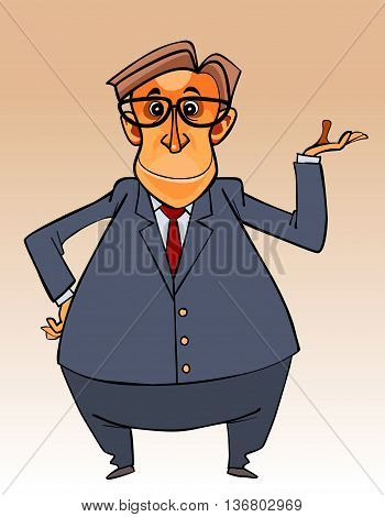 cartoon character big-bellied man in a suit and tie and glasses