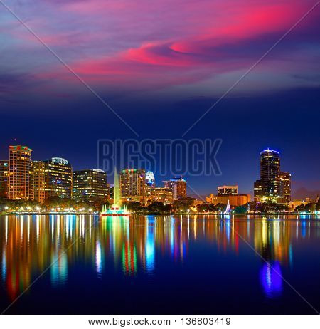 Orlando skyline sunset at lake Eola in Florida USA