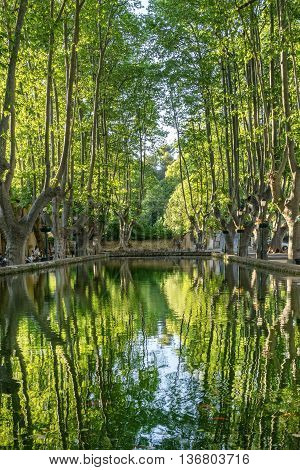 The long pond in the hill top village of Cucuron in the Luberon Provence
