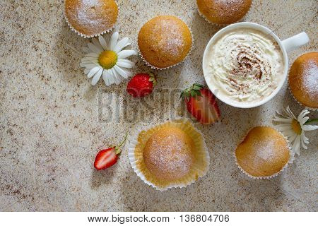Delicious Cake With Strawberries On Brown Stone Background. View From Above.