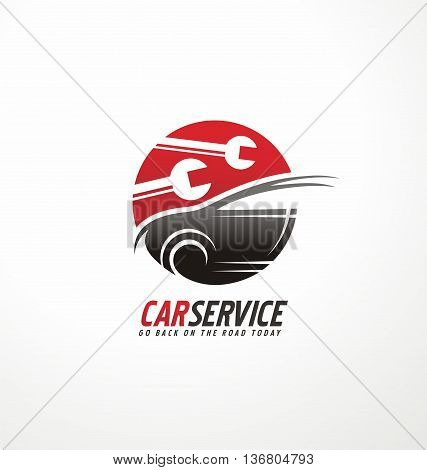 Creative logo design template for car service with car silhouette and wrench tools in negative space.
