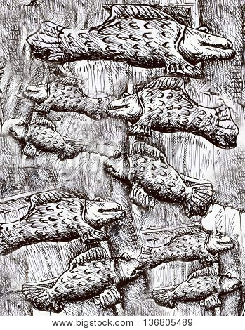 many black and white fishes, fish pattern drawing.
