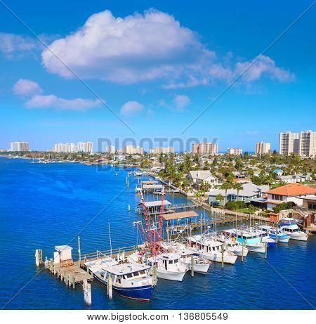 Daytona Beach in Florida aerial at Port Orange marina of USA