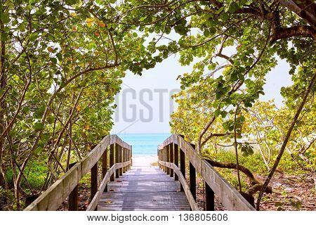 Florida bonita Bay Barefoot beach walk way in USA