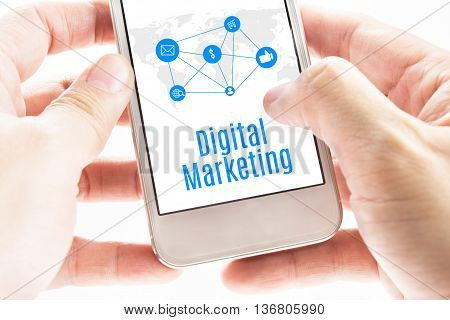 Close Up Two Hand Holding Smartphone With Digital Marketing Word And Icons, Digital Marketing Concep