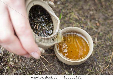 Tea Set On The Ground