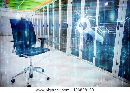 Digitally generated black and blue matrix against swivel chair in front of data center