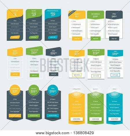 Set Of Pricing Table Design Templates For Websites And Applications. Vector Pricing Plans. Flat Styl