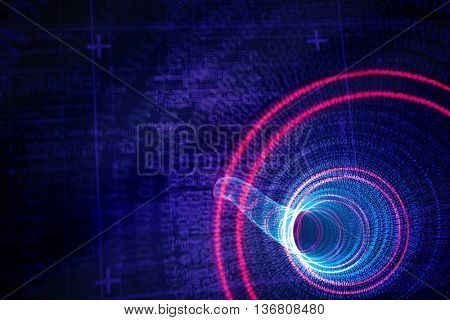 Binary spiral with red glow against lines of blue matrix and codes
