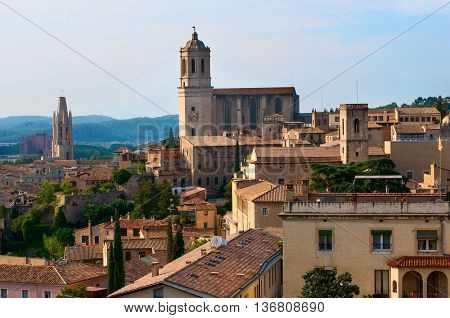Landscape Of Girona With Cathedral. Spain