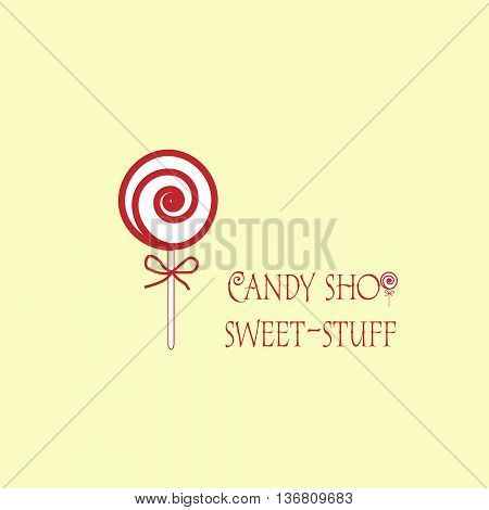 candy shop sweet stuff logo candy shop in the form of a large twisted into a spiral candy on a white background