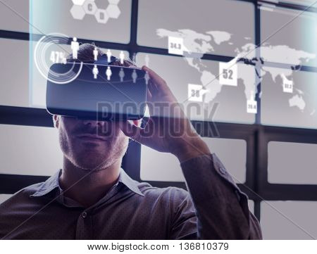 Abstract technology interface against businessman using virtual reality device