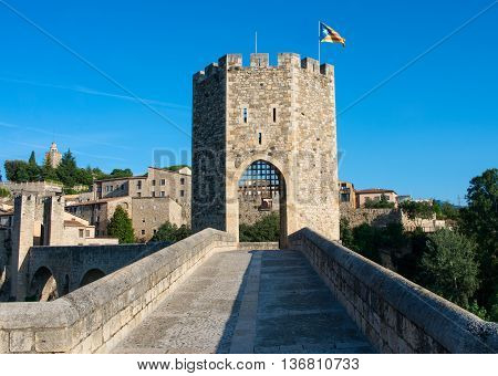 Medieval town with bridge. Besalu Catalonia Spain