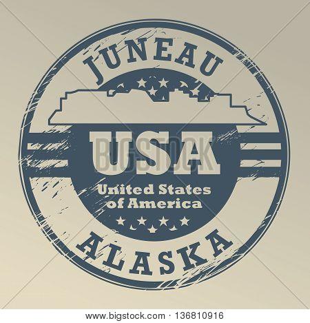 Grunge rubber stamp with name of Alaska, Juneau, vector illustration