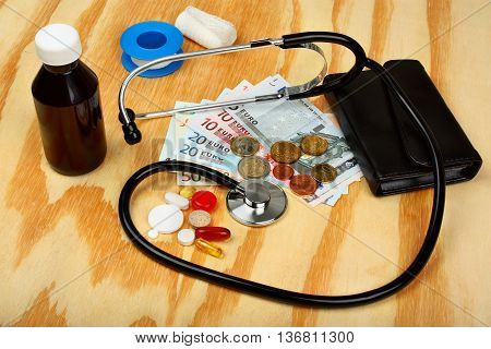 Medical Pills,stethoscope In Euro Money