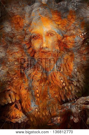 golden longbearded forest dwarf, lightbringer colorful illustration.