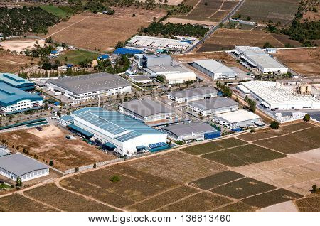 Industrial estate land development Factories and Storage facilities aerial view