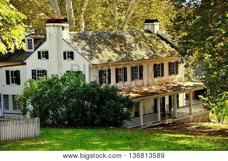 Hopewell Furnace Pennsylvania - October 15 2015: The Ironmaster's mansion built c. 1770-1800 at Hopewell Furnace National Historic Site