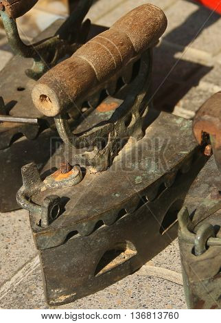 antique charcoal flatirons, sidewalk sale, Sonkhla, Thailad