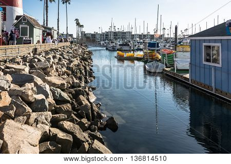 Oceanside,California,USA - July 15, 2015 : Pier and boats in the harbor