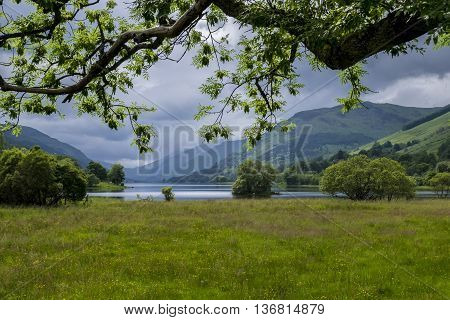 Iconic Scottish scenery looking through the trees towards Loch Voil from Balquhidder.